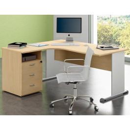 Postazione di lavoro con scrivania in melaminico e cassettiera cm. 160x80/143x72h