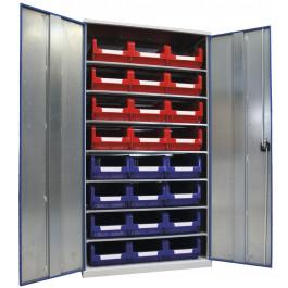 Armadio metallico con contenitori e piani regolabili cm. 100x52x195h