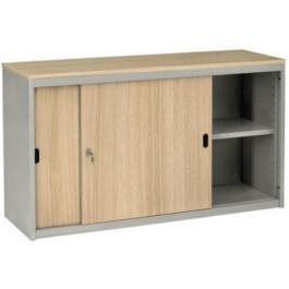 Armadio metallico ad ante scorrevoli in legno per ufficio cm. 180x47x69h