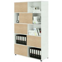 Libreria alta ad ante scorrevoli in legno per ufficio cm. 120x35x190,6h