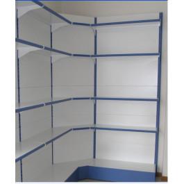 Modulo continuativo angolo per scaffalatura da negozio a piani di cm. 70x70x250h