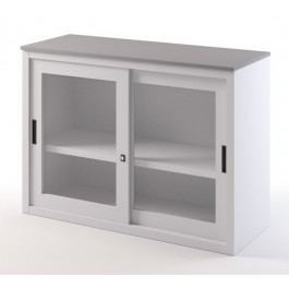 Low cabinet in metal with wooden top and sliding glass doors for office cm. 120x45x87H