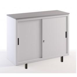 Sopralzo con top in legno e ante scorrevoli metalliche su gambette cm. 120x45x99H