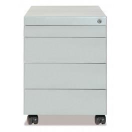 Cassettiera metallica su ruote a 3 cassetti + cassetto portacancelleria cm. 41x58x57h