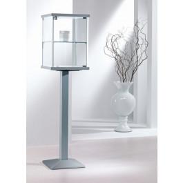 Vetrina espositiva con profili in alluminio e piantana in metallo e piano interno regolabile cm. 45x45x153h