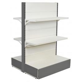 Scaffalatura da negozio in metallo con piani a mensole colore alluminio e bianco cm. 97x40x140h