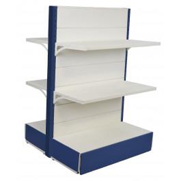 Scaffali di metallo per negozi colore alluminio e bianco cm. 97x40x140h