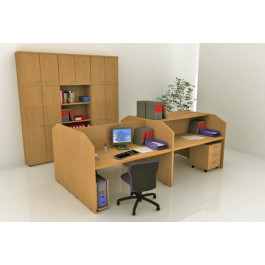 Postazione reception per call center in legno verniciato cm. 125x80x119h