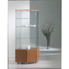 Vetrina per esposizione con faretti e mobile basso con anta cm. 68x68x181h
