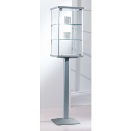 Vetrina per esposizione in vetro con piantana verticale in metallo verniciato cm. 45x45x195h