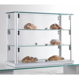 Vetrina da bar per brioches con montanti in alluminio e due piani interni regolabili cm. 62x25x50h