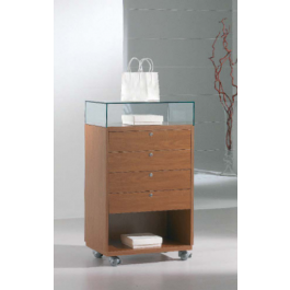 Banco vendita per esposizione negozi con cassetti e vetrina espositiva cm. 62x40x105h