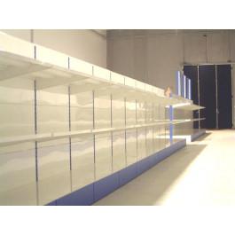 Modulo continuativo scaffalatura da negozio con piani a mensole di cm. 97x50x140h