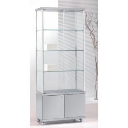 Vetrina espositiva per negozi con tre piani interni regolabili e mobile basso cm. 73x39x183h