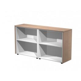 Coppia di mobili bassi da ufficio a giorno con piani regolabili interni cm. 162,8x43x81,4h