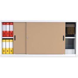 Armadio archiviazione basso con ante scorrevoli in legno per ufficio cm. 180x47x85h
