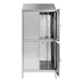 Armadio multispogliatoio acciaio inox AISI 430 a 4 posti a 4 ante con tramezza interna cm. 95x50x215h