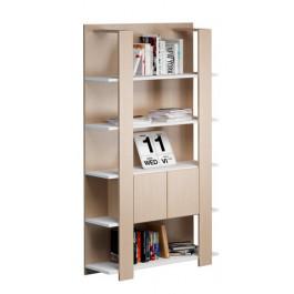 Libreria a giorno in melaminico bicolore rovere/bianco