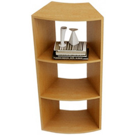 Libreria angolare a 45° con due ripiani a giorno cm. 27,4/49,8x60x91h