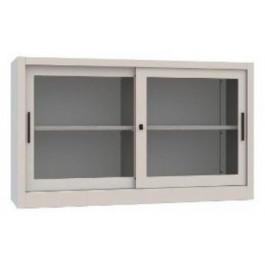 Sopralzo armadio per archiviazione con ante in vetro e piani in metallo cm. 180x45x85h