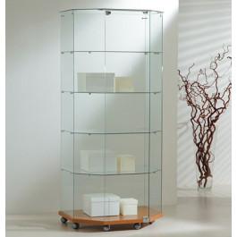 Vetrina espositiva per negozi a forma trapezioidale cm. 80x60/40x180h