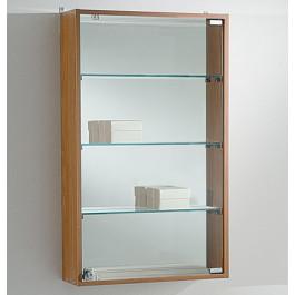 Vetrina espositiva a muro con piani in vetro regolabili cm. 49x15x81h