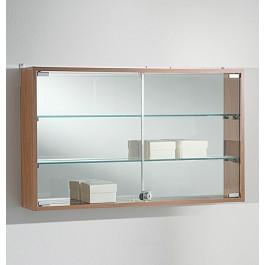 Bacheca vetrina espositiva a muro in legno e vetro cm. 81x15x49h