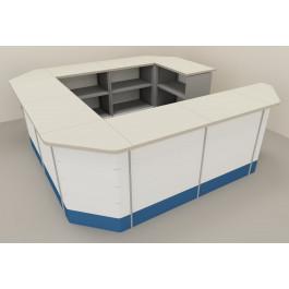 Composizione angolare banchi vendita per arredo negozi con piano in laminato antigraffio cm. 312x312x106h