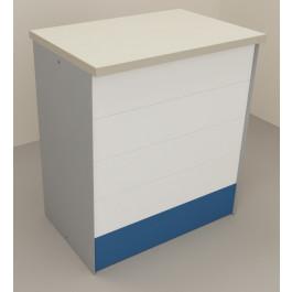 Banco vendita per negozi in metallo con piano superiore in laminato antigraffio cm. 92x64x106h