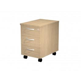 Cassettiera in legno su ruote a 3 cassetti