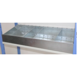 Cassettiera metallica a 4 separatori 91x50 cm ZINCATA