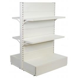 Scaffalatura di metallo per arredare negozi a centro stanza colore bianco cm. 97x40x140h