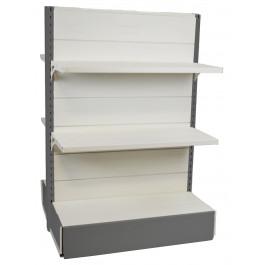 Scaffalatura da negozio in metallo centro stanza colore alluminio e bianco cm. 97x40x140h