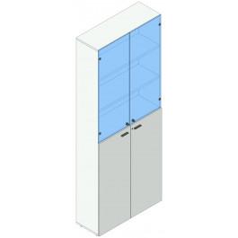 Armadio per ufficio ad ante battenti in vetro e melaminico cm. 90x33,5/46,5x232,8h