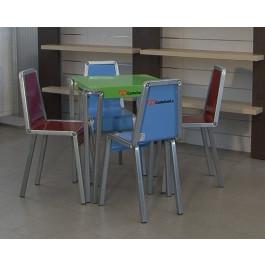 Composizione tavolo in metallo verniciato con 4 sedie per ufficio