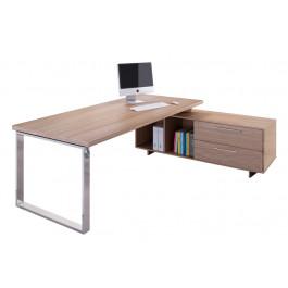 Scrivania ufficio direzionale con struttura di metallo e mobile di servizio laterale cm. 195/225x170x74h