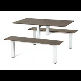 Tavolo in tubo di acciaio con sedute a panca e piano cm. 120x80h