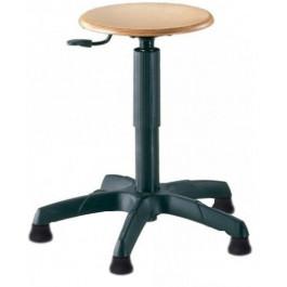 Sgabello da lavoro su piedini con sedile in faggio regolabile cm. 32x60x44/55h