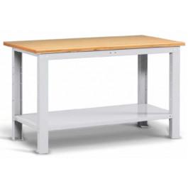 Banco lavoro per magazzino con struttura in acciaio e piano di legno cm. 200x75x88h