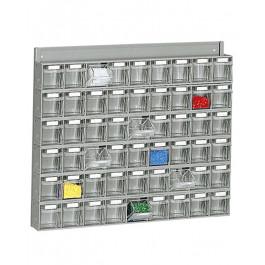 Scaffale a parete con cassette per minuterie