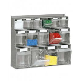 Scaffale a muro con cassetti trasparenti di plastica porta minuterie cm. 60x18,3x50h