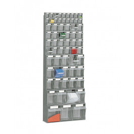 Scaffale a muro con vari cassetti in polipropilene estraibili cm. 60x22,4x154h