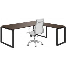 Scrivania in legno con gambe per ufficio ad anello e allungo cm. 200x160/180/200x75h