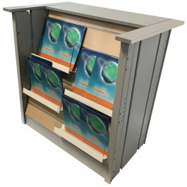 Banco vendita espositivo con portariviste per edicola cm. 99x64x103h