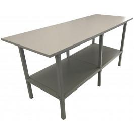 Banco per lavoro con piano di legno e struttura portante di metallo verniciato cm. 200x80x93h