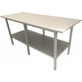 Banco lavoro metallico con piano in legno bordato cm. 280x100x93h