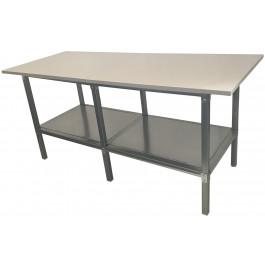 Banco lavoro con piano inferiore metallico e struttura di metallo colore grigio scuro cm. 200x100x93h
