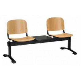 Panca per sale d'attesa a due posti con tavolino al centro