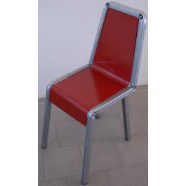 Sedia in metallo verniciato rosso da negozio in kit da 4 pezzi