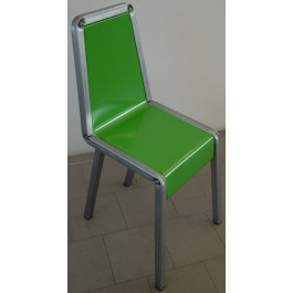 Sedia verniciata verde per sala d'attesa in kit da 4 pezzi